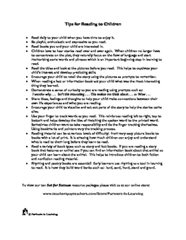 Reading to Children From the Beginning:  A Printable Parent Handout