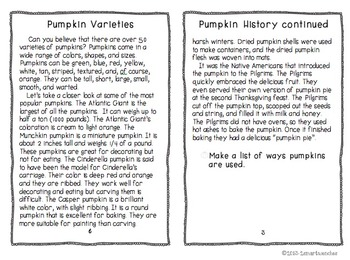 Reading to Learn- Pumpkins