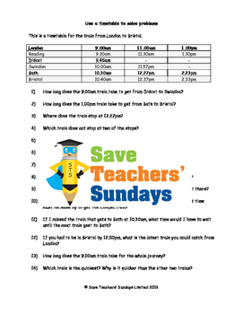 Reading Train Timetable Worksheets (3 levels of difficulty)