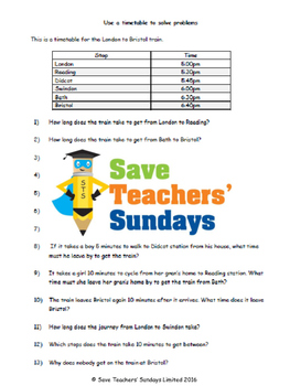 Reading train timetables lesson plans, worksheets and more