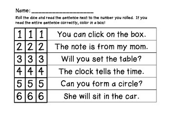 Roll and Read with Fluency and Accuracy
