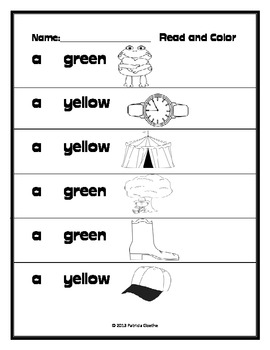 Beginning Readers Read and Color Worksheets