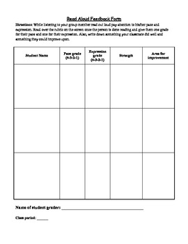 Reading with Expression - rubric and assessment sheet