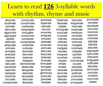 Reading with Rhythm and Rhyme - 3-syllable words ending in ate