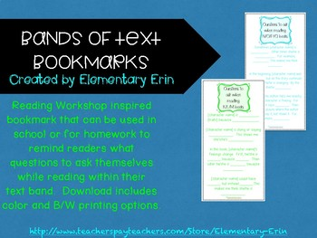 Reading workshop inspired bands of text bookmarks