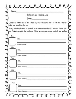 Daily Reading and Behavior Log