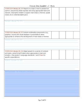 Reading/Language Arts Common Core Checklist Grade 5