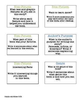 Reading/Literacy Center Task Cards