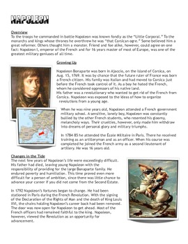 Reading/Worksheet: Napoleon