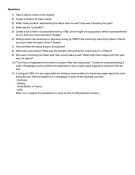 Reading/Worksheet: Nazis in Power Part 2 - Drive to War