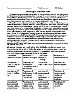 """Reading/Worksheet on """"Black Codes"""" After Civil War"""