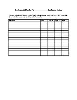 Reading/Writing Development Checklist