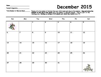 Reading Calendar 2015-2016 School Year