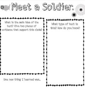 Readworks: Meet a Soldier Activity Sheet