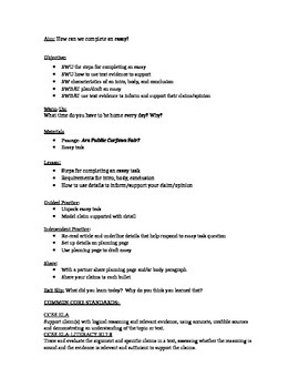 Readworks passage + essay task