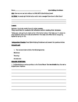 Readworks passage + short response questions