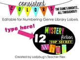 Editable for Numbering Genre Library Labels (Consistent Colors)