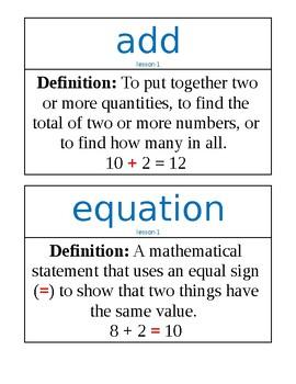 Ready Classroom Mathematics Vocabulary Unit 1 - 2nd Grade