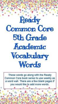 Ready Common Core 5th Grade Academic Vocabulary Words