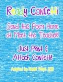 Ready Confetti Poem for Meet the Teacher
