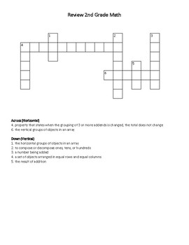 Ready FL MAFS 3rd Grade Vocabulary Crossword Puzzles - First Five Days SAMPLE