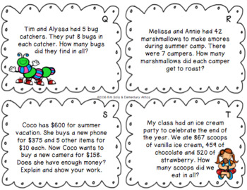 Summer Word Problem Task Cards with Digital Boom Cards Option Distance Learning