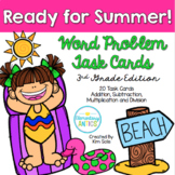 Summer Word Problem Task Cards with Digital Boom Cards Option