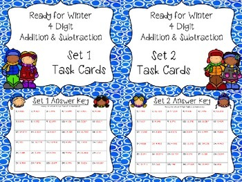 Ready For Winter 4 Digit Addition and Subtraction With Regrouping Task Cards