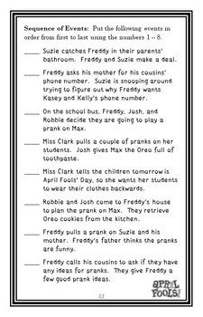 Ready, Freddy! Best Prank Ever (Abby Klein) Novel Study / Comprehension (25 pgs)