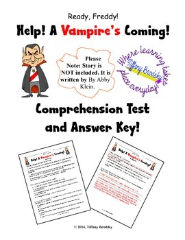 Ready, Freddy! Help! A Vampire's Coming! Comprehension Test & Answer Key