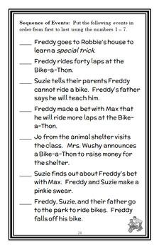 Ready, Freddy! Yikes! Bikes! (Abby Klein) Novel Study / Reading Comprehension