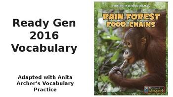Ready Gen 2016 Grade 5 Rain Forest Food Chains Vocabulary Anita Archer U1MB