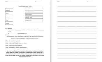 Ready Gen 4th Grade - Northwest Coast Peoples Test Review - Editable