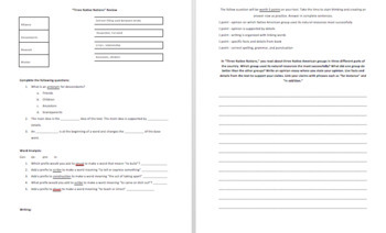 Ready Gen 4th Grade - Three Native Nations Test Review - Editable