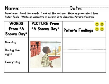 """Ready Gen """"A Snowy Day"""" Minilesson: making inferences using adjectives"""