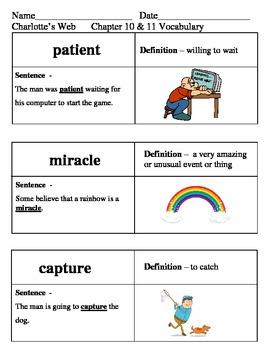Ready Gen Charlotte's Web Vocabulary Chapter 10-16