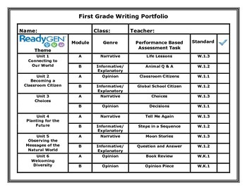 ReadyGen First Grade Writing Portfolio Cover Sheet