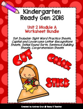 Ready Gen Kindergarten 2016 - Module 2A Worksheet Set