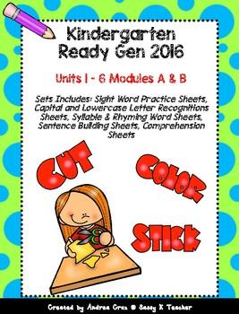 Ready Gen Kindergarten 2016 - Worksheet Bundle for Units 1 - 6 Modules A & B