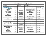 ReadyGen Kindergarten Writing Portfolio Cover Sheet