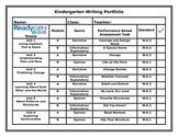 ReadyGen Kindergarten Writing Portfolio Cover Sheet