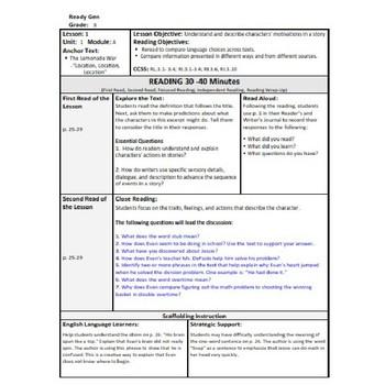 ReadyGen 2014-15 Lesson Plans Unit 1 Module A -Word Wall Cards-EDITABLE-Grade 4