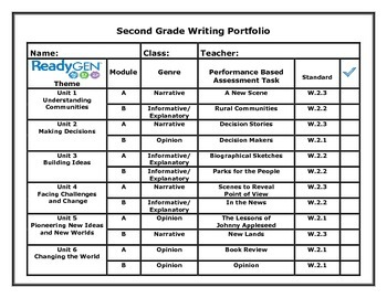 ReadyGen Second Grade Writing Portfolio Cover Sheet