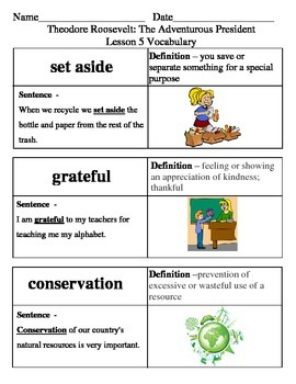 Ready Gen Theodore Roosevelt Vocabulary Lessons 5-8