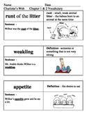 Ready Gen Charlotte's Web Vocabulary Chapter 1-9