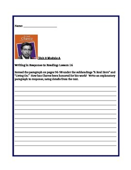 Ready Gen Unit 2 Module A Lessons 1-18 Worksheets