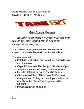 Ready Gen Unit 2 Module A Performance Task Miss Agnes Returns