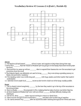 Ready Gen Vocabulary 5th Grade Crossword Unit 1 Module B Lessons 2-6
