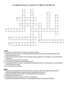 Ready Gen Vocabulary 5th Grade Crossword Unit 2 Module A Lessons 9-13
