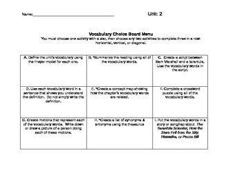 Ready Gen Vocabulary Choice Board